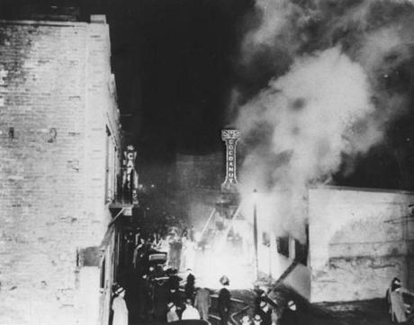 The Cocoanut Grove fire's origin remains in question, but a discarded match is believed to have begun the inferno among many flammable decorations.